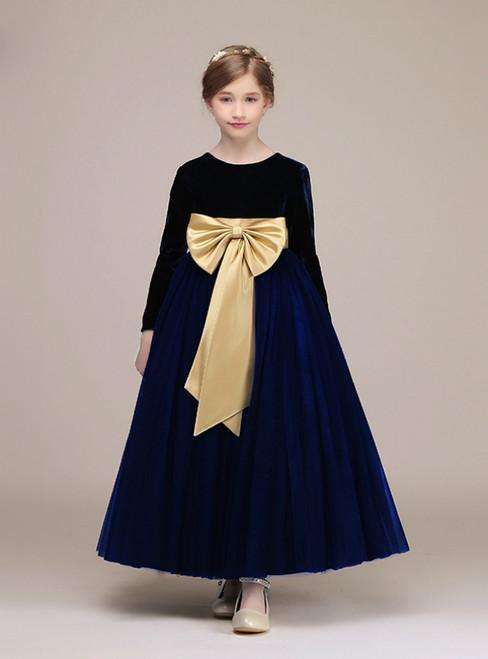 Navy Blue Long Sleeve Velvet Tulle Flower Girl Dress With Bow