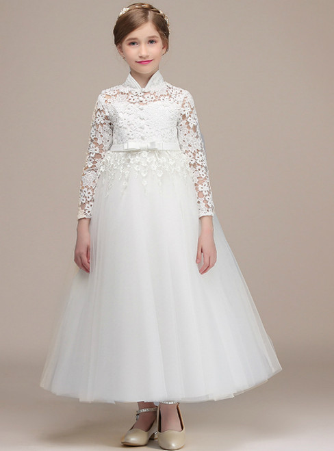 A-Line White Tulle Lace Long Sleeve High Neck Flower Girl Dress