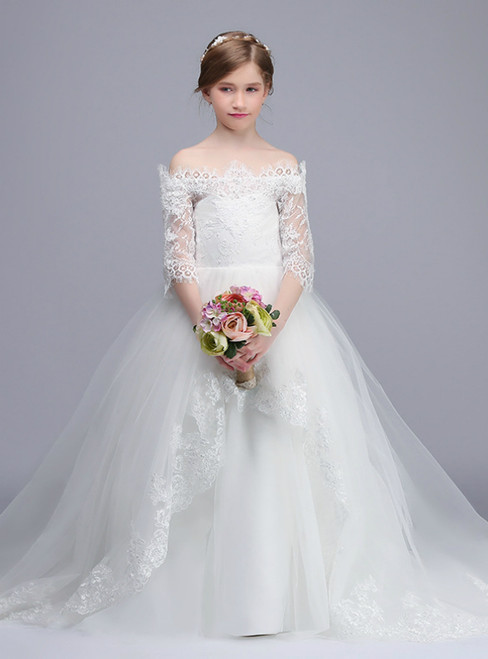 White Ball Gown Tulle Appliques Off The Shoulder Flower Girl Dress