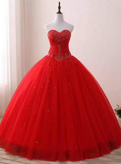 Red Ball Gown Tulle Sweetheart Neck Sweet 16 Dresss With Beading