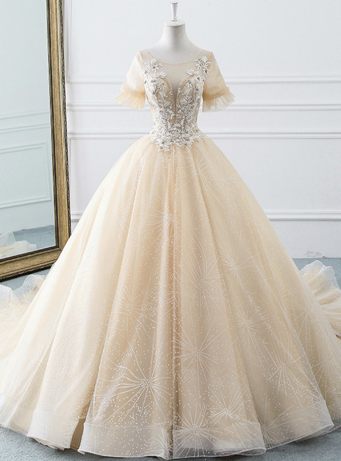 Champagne Ball Gown Tulle Short Sleeve Backless Wedding Dress With Beading