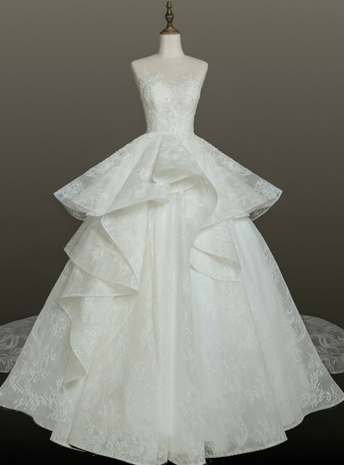 Brilliant White Ball Gown Lace Backless Wedding Dress With Train