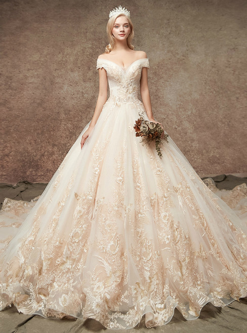 Champagne Tulle Appliques Off The Shoulder Wedding Dress With Beading