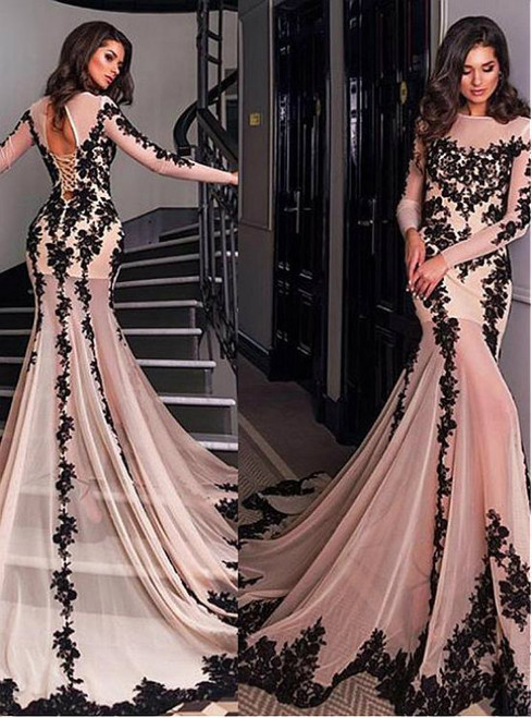 Champagne Tulle Appliques Long Sleeve Backless Train Prom Dress