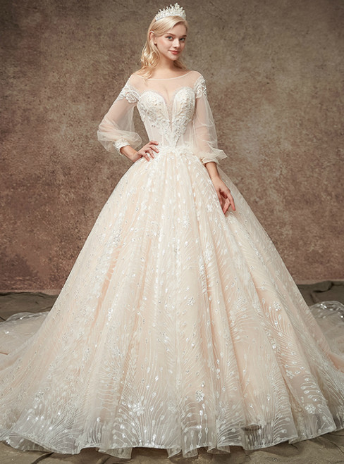 Champgne Ball Gown Tulle Sequins Puff Sleeve Backless WeddingDress