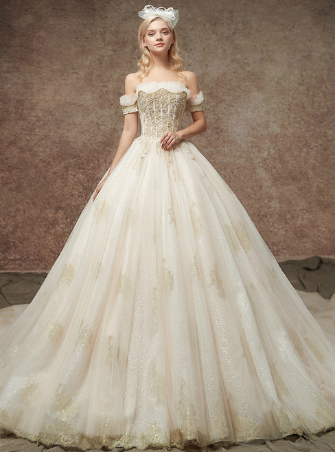 Champagne Ball Gown Tulle Applqiues Off The Shoulder Wedding Dress With Beading