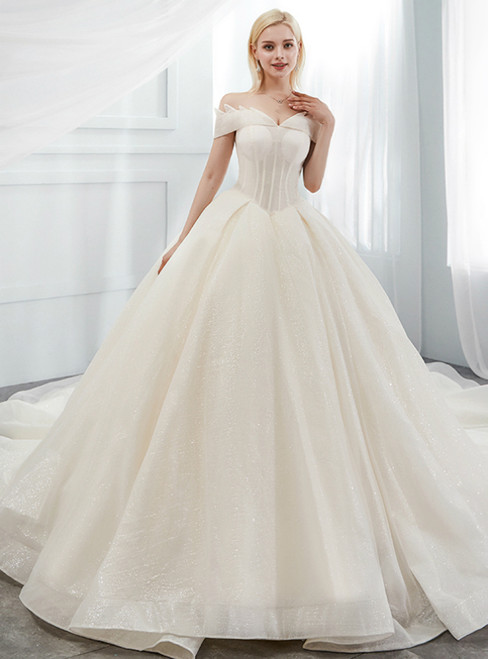 Champagne Tulle Sequins Off The Shoulder Corset Wedding Dress With Train