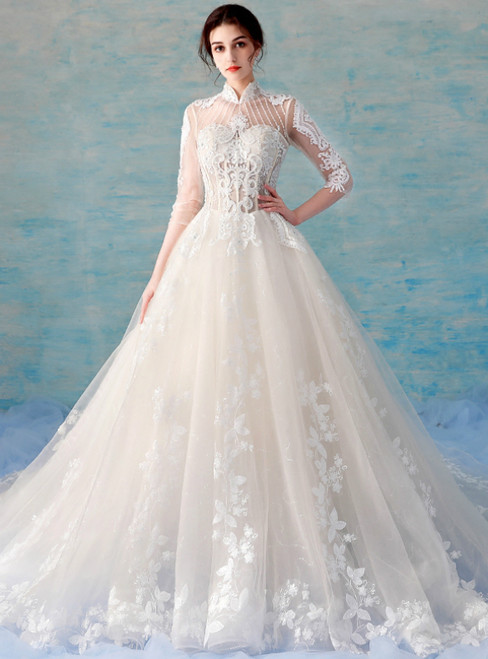 Champagne Tulle Lace Appliques High Neck 3/4 Sleeve Backless Wedding Dress