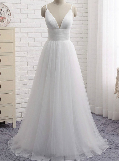 Simple White Spaghetti Straps Tulle V-neck Backless Wedding Dress