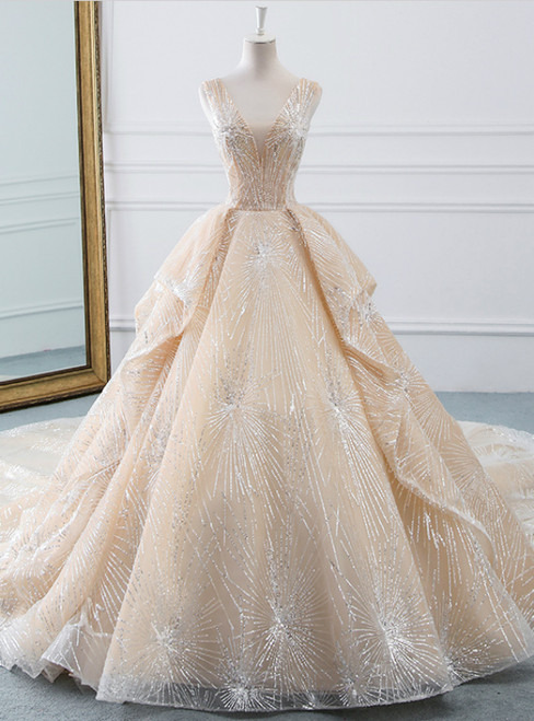 Champagne Ball Gown Tulle Sequins Bling Bling V-neck Wedding Dress