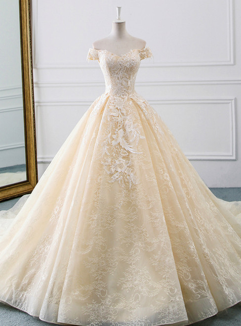 9023be16146 Champagne Ball Gown Tulle Lace Appliques Wedding Dress With Train