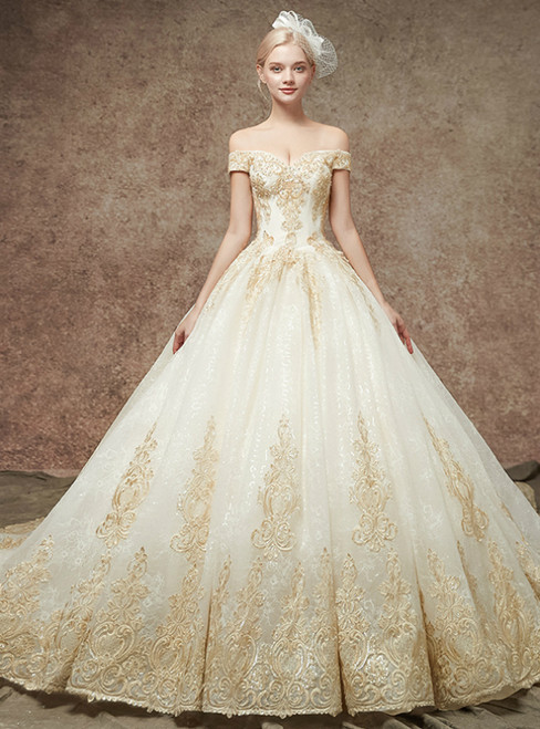 Champgne Tulle Appliques Off The Shoulder Wedding Dress With Bead
