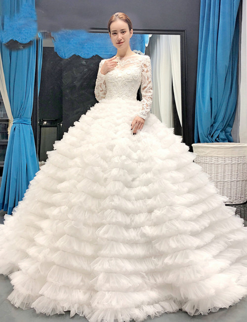 White Ball Gown Tulle Lace Appliques Long Sleeve Backless Wedding Dress