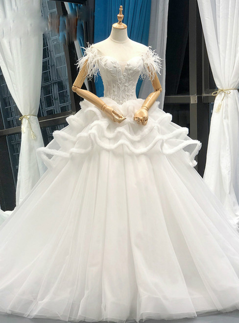 White Ball Gown Corset Tulle Off The Shoulder Wedding Dress With Feather