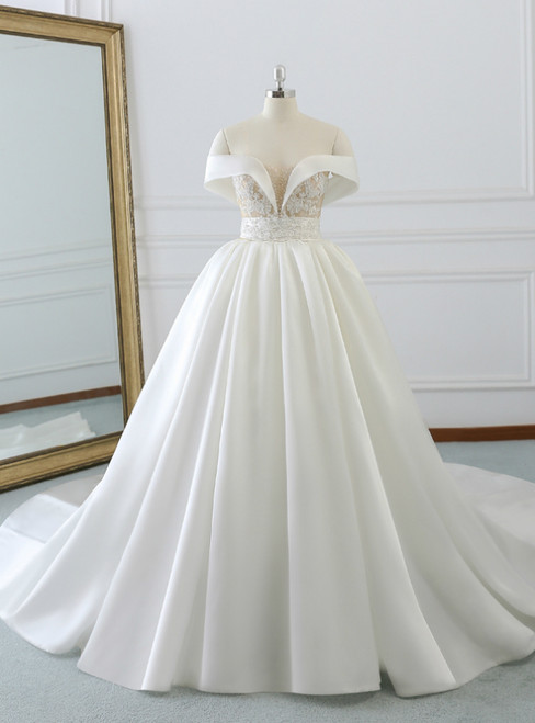 White Satin Off The Shoulder Appliques Wedding Dress With Beading