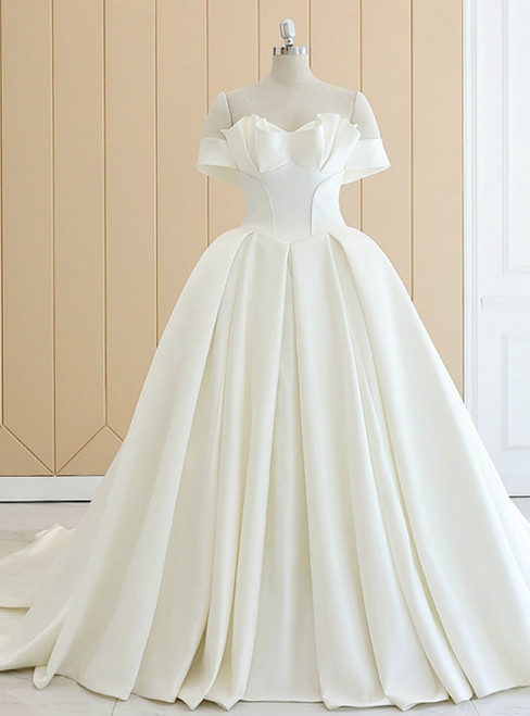 White Off The Shoulder Satin Wedding Dress With Long Train