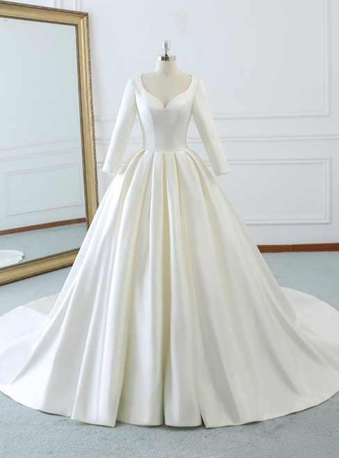 Ivory White Satin Sweetheart Long Sleeve Wedding Dress With Train