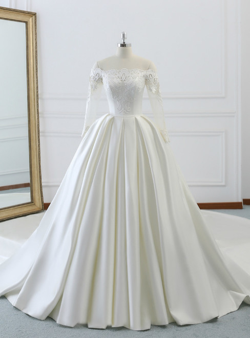 Ivory White Satin Off The Shoulder Long Sleeve Wedding Dress With Train