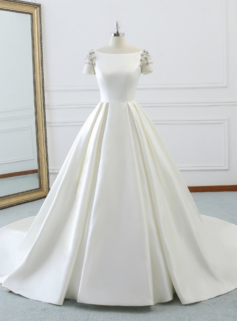White Bateau Short Sleeve Satin Backless Wedding Dress With Long Train