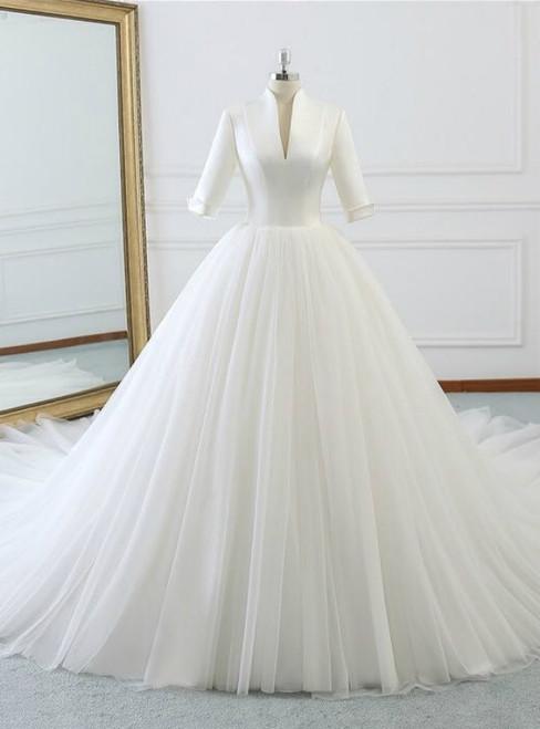 73f9c3f250a92 White Deep V-neck High Neck Short Sleeve Wedding Dress