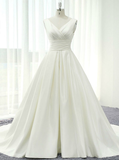 Ivory White Satin V-neck Backless Pleats Wedding Dress With Train
