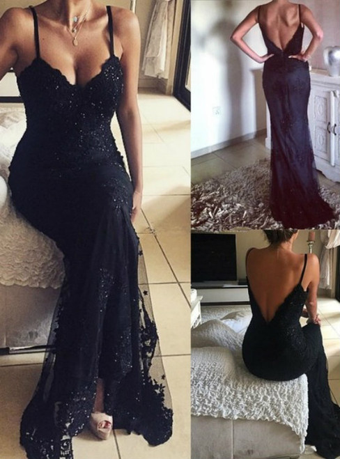2017 Charming Appliqued Tulle Long Prom Dresses Black Prom Dresses