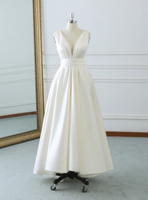 Ivory White Satin Deep V-neck Backless Tea Length Wedding Dress With Bow