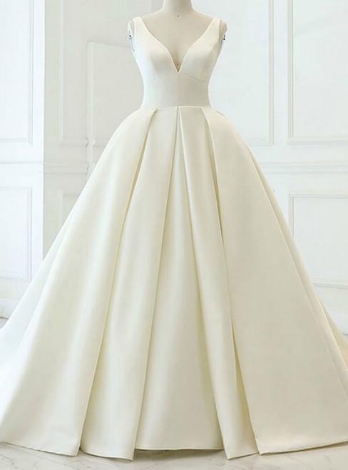 Charming Beige White Ball Gown Satin V-neck Backless Wedding Dress