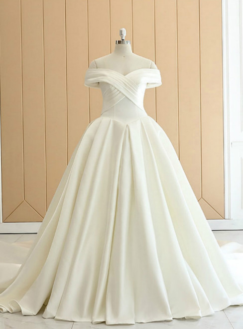 White Satin Off The Shoulder Pleats Wedding Dress With Train