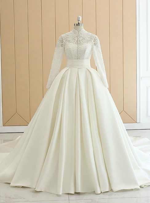 Biege White Satin High Neck Long Sleeve Wedding Dress With Button