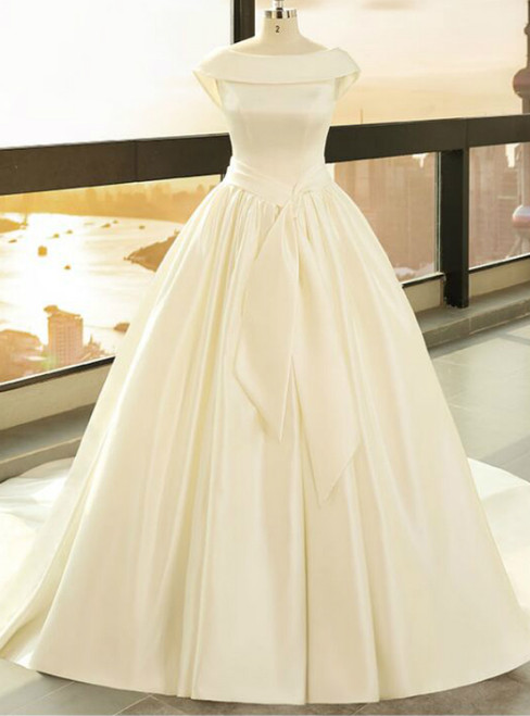 Beige White Satin Bateau Backless Cap Sleeve Wedding Dress