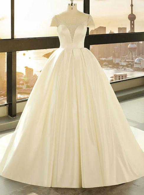 Ball Gown Beige White Satin See Through Cap Sleeve Wedding Dress