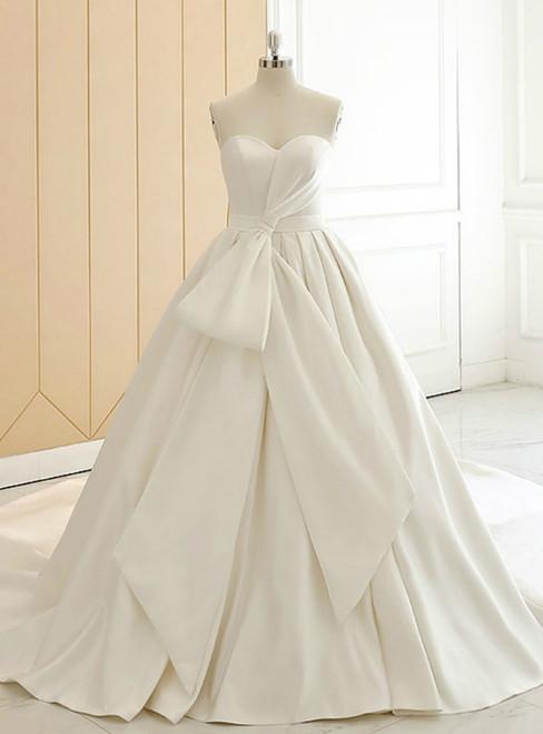Beige White Sweetheart Neck Satin Big Bow Shirring Wedding Dress