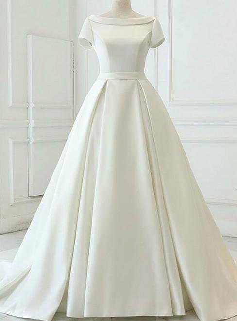 Beige White Ball Gown Satin Cap Sleeve Backless Wedding Dress