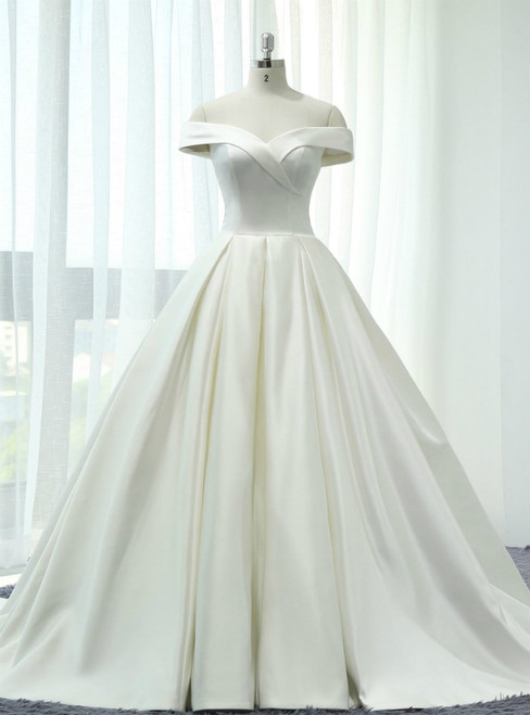 Beige White Ball Gown Satin Off The Shoulder Wedding Dress With Train