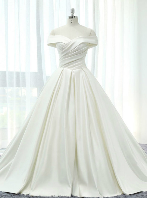 Beige White Satin Off The Shoulder Pleats With Train Wedding Dress