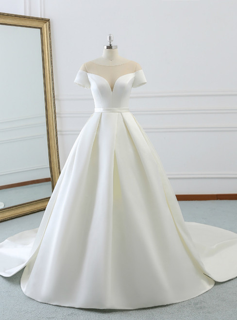 Ball Gown Beige White Satin Scoop Neck Short Satin Wedding Dress
