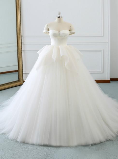 White Tulle Satin Off The Shoulder Backless Wedding Dress