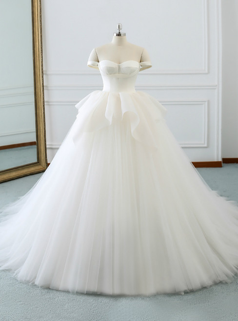 White Tulle Satin Off The Shoulder Backless Wedding Dress