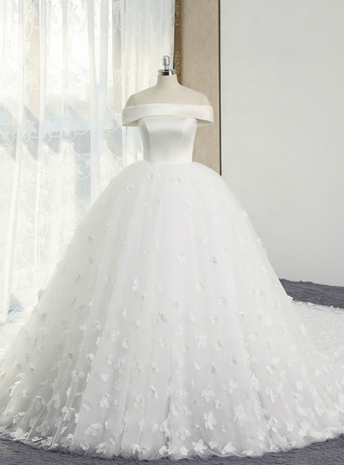 White Ball Gown Off The Shoulder Appliques With Long Train Wedding Dress