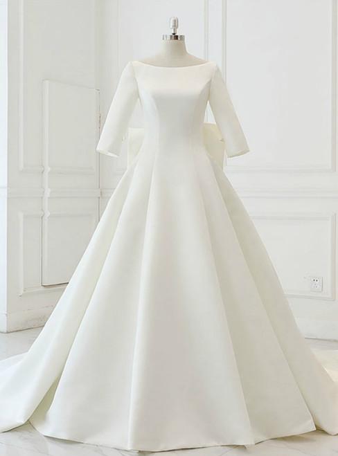 White Satin Backless 3/4 Sleeve Wedding Dress With Big Bow