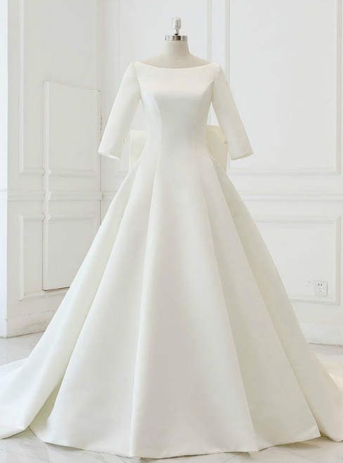 White Satin Backless 3/4 Sleeve Wedding Dress With Big Bow