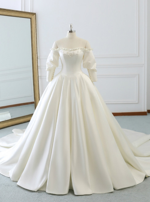 Ivory White Ball Gown Satin Off The Shoulder Puff Sleeve Wedding Dress