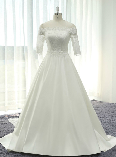 White Satin Lace Off The Shoulder Short Sleeve Wedding Dress With Lace Train