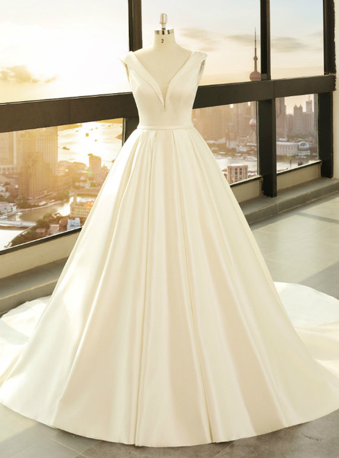White Satin Ball Gown Deep V-neck Backless Wedding Dress