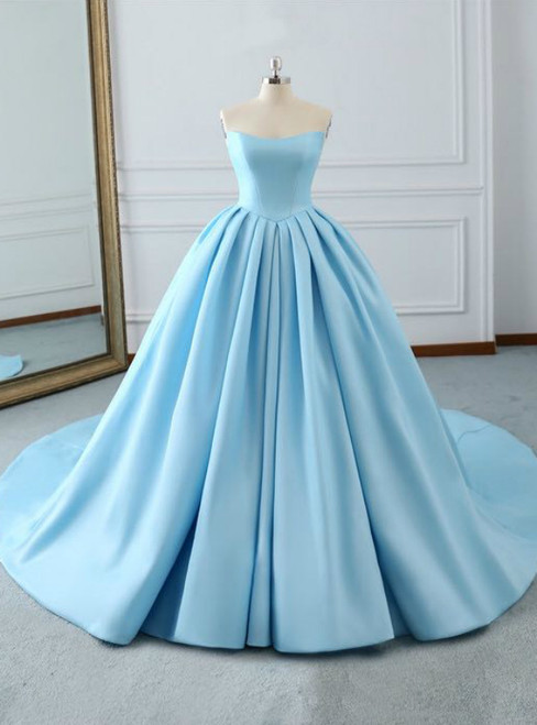 Fashion Blue Ball Gown Strapless Pleats Wedding Dress With Train