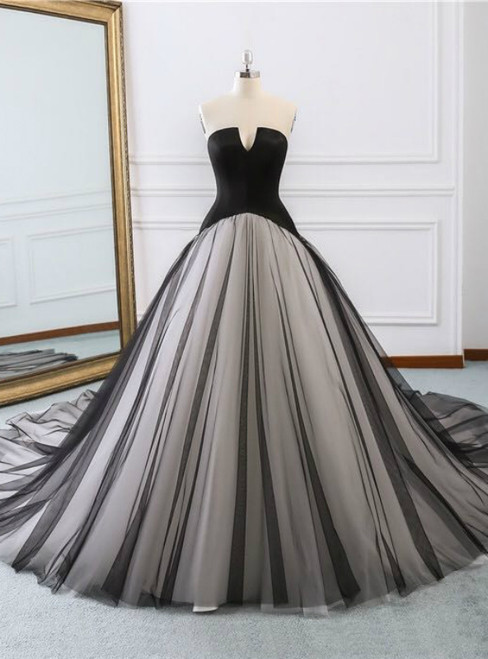 Black Satin Tulle Strapless Sleeveless Wedding Dress With Train
