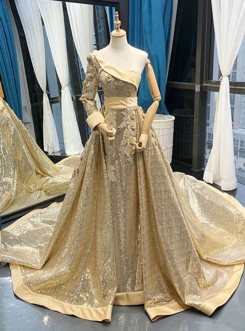 Gold Ball Gown Sequins One Shoulder Long Sleeve Appliques Prom Dress