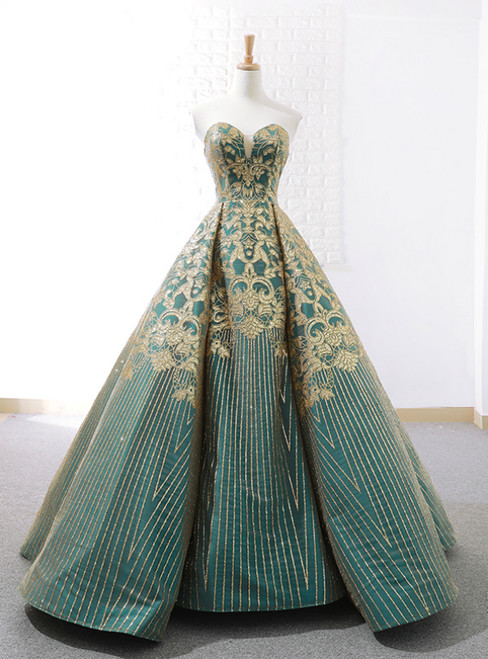 Vintage Green Ball Gown Gold Appliques Sweetheart Wedidng Dress