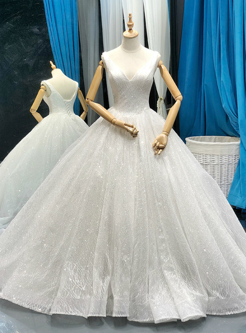 White Ball Gown Tulle Sequins Deep V-neck Backless Wedding Dress